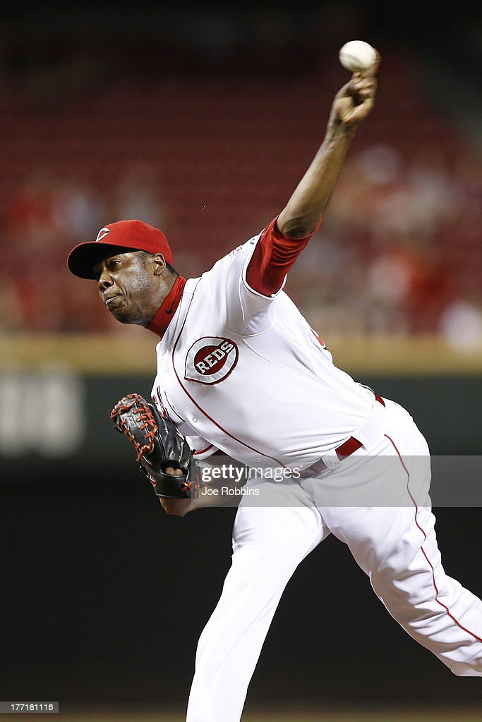<a gi-track='captionPersonalityLinkClicked' href=/galleries/search?phrase=Aroldis+Chapman&family=editorial&specificpeople=5753195 ng-click='$event.stopPropagation()'>Aroldis Chapman</a> #54 of the Cincinnati Reds pitches against the Arizona Diamondbacks during the game at Great American Ball Park on August 21, 2013 in Cincinnati, Ohio. The Reds won 10-7.