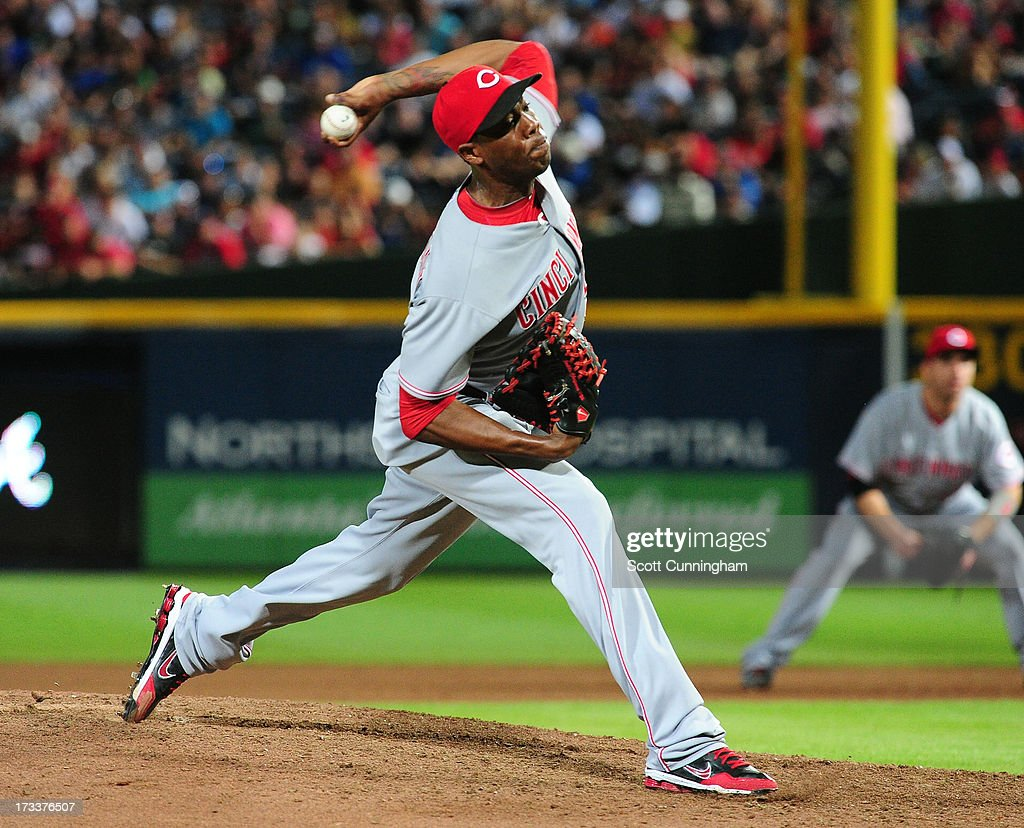 <a gi-track='captionPersonalityLinkClicked' href=/galleries/search?phrase=Aroldis+Chapman&family=editorial&specificpeople=5753195 ng-click='$event.stopPropagation()'>Aroldis Chapman</a> #54 of the Cincinnati Reds pitches against the Atlanta Braves at Turner Field on July 12, 2013 in Atlanta, Georgia.
