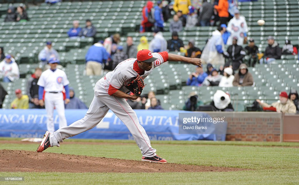 <a gi-track='captionPersonalityLinkClicked' href=/galleries/search?phrase=Aroldis+Chapman&family=editorial&specificpeople=5753195 ng-click='$event.stopPropagation()'>Aroldis Chapman</a> #54 of the Cincinnati Reds pitches against the Chicago Cubs in the ninth inning on May 3, 2013 at Wrigley Field in Chicago, Illinois. The Reds defeated the Cubs 6-5.