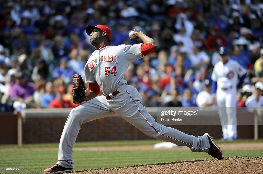 <a gi-track='captionPersonalityLinkClicked' href=/galleries/search?phrase=Aroldis+Chapman&family=editorial&specificpeople=5753195 ng-click='$event.stopPropagation()'>Aroldis Chapman</a> #54 of the Cincinnati Reds pitches against the Chicago Cubs during the ninth inning on May 4, 2013 at Wrigley Field in Chicago, Illinois. The Cincinnati Reds defeated the Chicago Cubs 6-4.