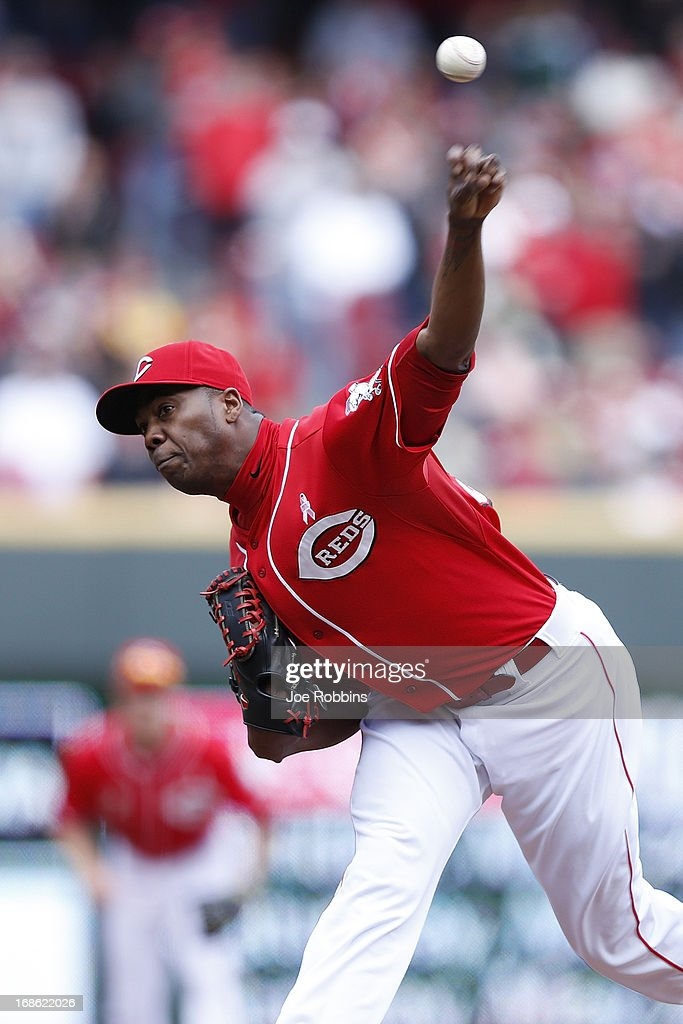 <a gi-track='captionPersonalityLinkClicked' href=/galleries/search?phrase=Aroldis+Chapman&family=editorial&specificpeople=5753195 ng-click='$event.stopPropagation()'>Aroldis Chapman</a> #54 of the Cincinnati Reds pitches against the Milwaukee Brewers during the game at Great American Ball Park on May 12, 2013 in Cincinnati, Ohio. The Reds won 5-1.