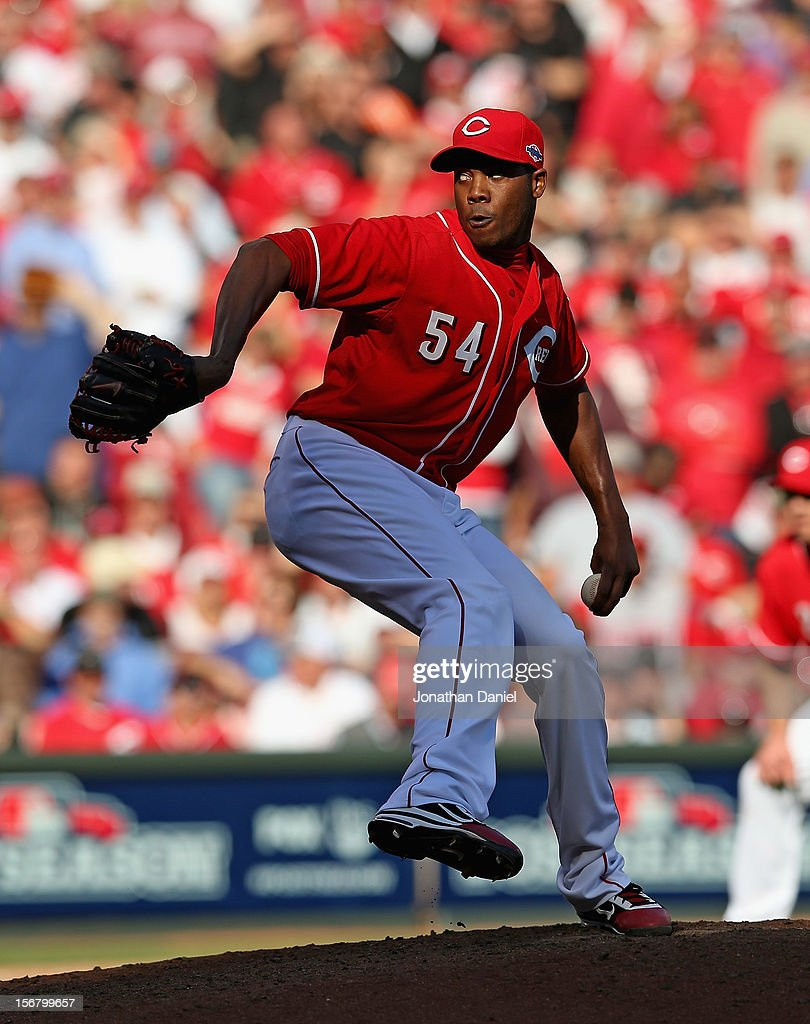 <a gi-track='captionPersonalityLinkClicked' href=/galleries/search?phrase=Aroldis+Chapman&family=editorial&specificpeople=5753195 ng-click='$event.stopPropagation()'>Aroldis Chapman</a> #54 of the Cincinnati Reds pitches against the San Francisco Giants in Game Five of the National League Division Series at the Great American Ball Park on October 11, 2012 in Cincinnati, Ohio. The Giants defeated the Reds 6-4.