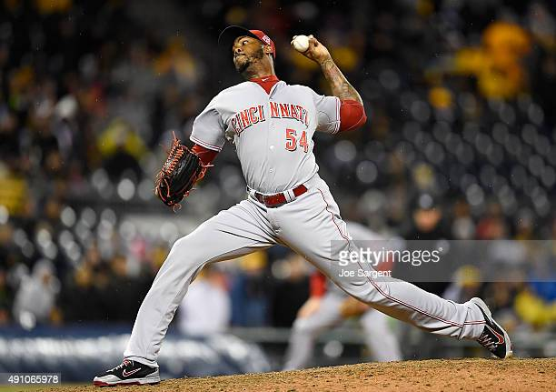 Aroldis Chapman of the Cincinnati Reds pitches during the ninth inning against the Pittsburgh Pirates on October 2 2015 at PNC Park in Pittsburgh...