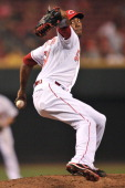 Aroldis Chapman of the Cincinnati Reds pitches in relief in the eighth inning against the Pittsburgh Pirates at Great American Ball Park on June 17...
