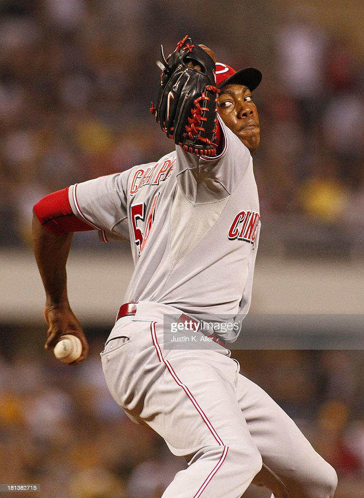 <a gi-track='captionPersonalityLinkClicked' href=/galleries/search?phrase=Aroldis+Chapman&family=editorial&specificpeople=5753195 ng-click='$event.stopPropagation()'>Aroldis Chapman</a> #54 of the Cincinnati Reds pitches in the 10th inning against the Pittsburgh Pirates during the game on September 20, 2013 at PNC Park in Pittsburgh, Pennsylvania.