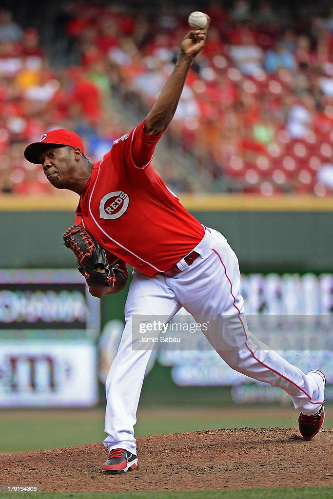 <a gi-track='captionPersonalityLinkClicked' href=/galleries/search?phrase=Aroldis+Chapman&family=editorial&specificpeople=5753195 ng-click='$event.stopPropagation()'>Aroldis Chapman</a> #54 of the Cincinnati Reds pitches in the ninth inning against the San Diego Padres at Great American Ball Park on August 11, 2013 in Cincinnati, Ohio. Cincinnati defeated San Diego 3-2 in 13 innings.