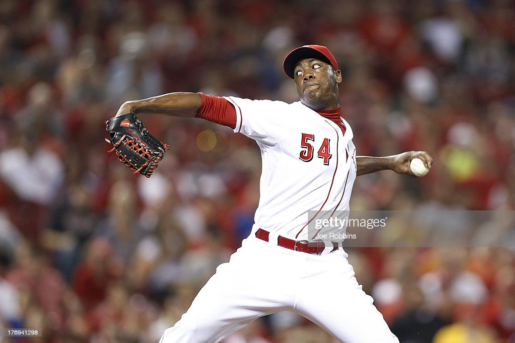 <a gi-track='captionPersonalityLinkClicked' href=/galleries/search?phrase=Aroldis+Chapman&family=editorial&specificpeople=5753195 ng-click='$event.stopPropagation()'>Aroldis Chapman</a> #54 of the Cincinnati Reds pitches in the ninth inning against the Arizona Diamondbacks during the game at Great American Ball Park on August 19, 2013 in Cincinnati, Ohio. The Reds won 5-3.
