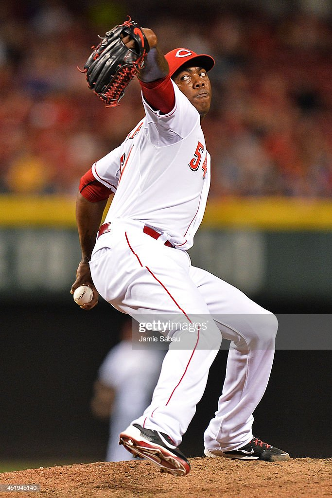 Aroldis Chapman #54 of the Cincinnati Reds pitches in the ninth inning against the Chicago Cubs at Great American Ball Park on July 9, 2014 in Cincinnati, Ohio. Cincinnati defeated Chicago 4-1.