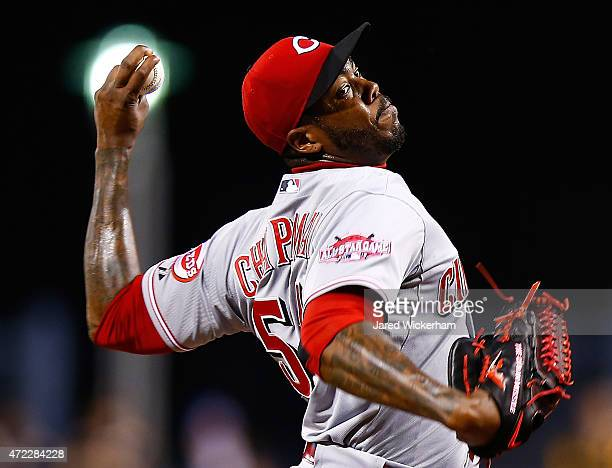 Aroldis Chapman of the Cincinnati Reds pitches in the ninth inning against the Pittsurgh Pirates during the game at PNC Park on May 5 2015 in...