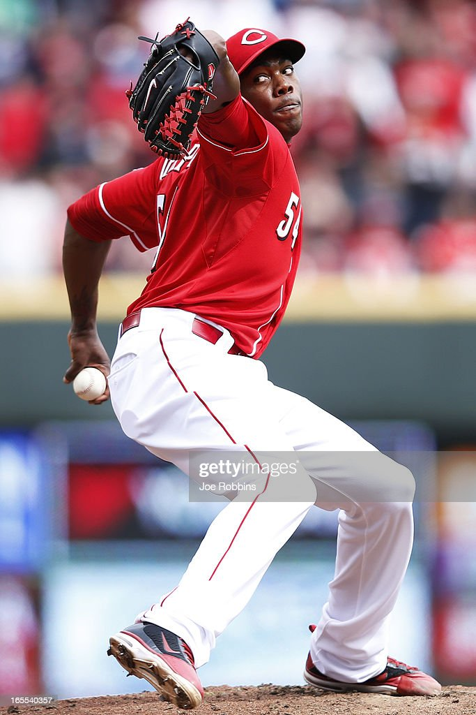 <a gi-track='captionPersonalityLinkClicked' href=/galleries/search?phrase=Aroldis+Chapman&family=editorial&specificpeople=5753195 ng-click='$event.stopPropagation()'>Aroldis Chapman</a> #54 of the Cincinnati Reds pitches the ninth inning of the game against the Los Angeles Angels of Anaheim at Great American Ball Park on April 4, 2013 in Cincinnati, Ohio. The Reds won 5-4.