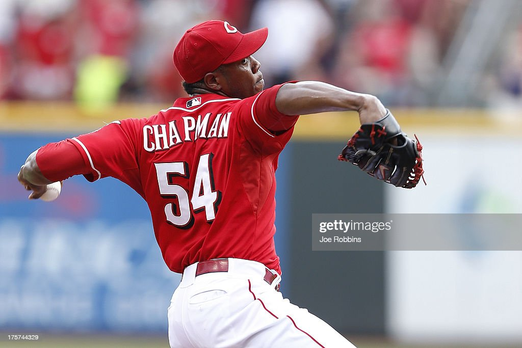 <a gi-track='captionPersonalityLinkClicked' href=/galleries/search?phrase=Aroldis+Chapman&family=editorial&specificpeople=5753195 ng-click='$event.stopPropagation()'>Aroldis Chapman</a> #54 of the Cincinnati Reds pitches the ninth inning of the game against the Oakland Athletics at Great American Ball Park on August 7, 2013 in Cincinnati, Ohio. The Reds won 6-5.