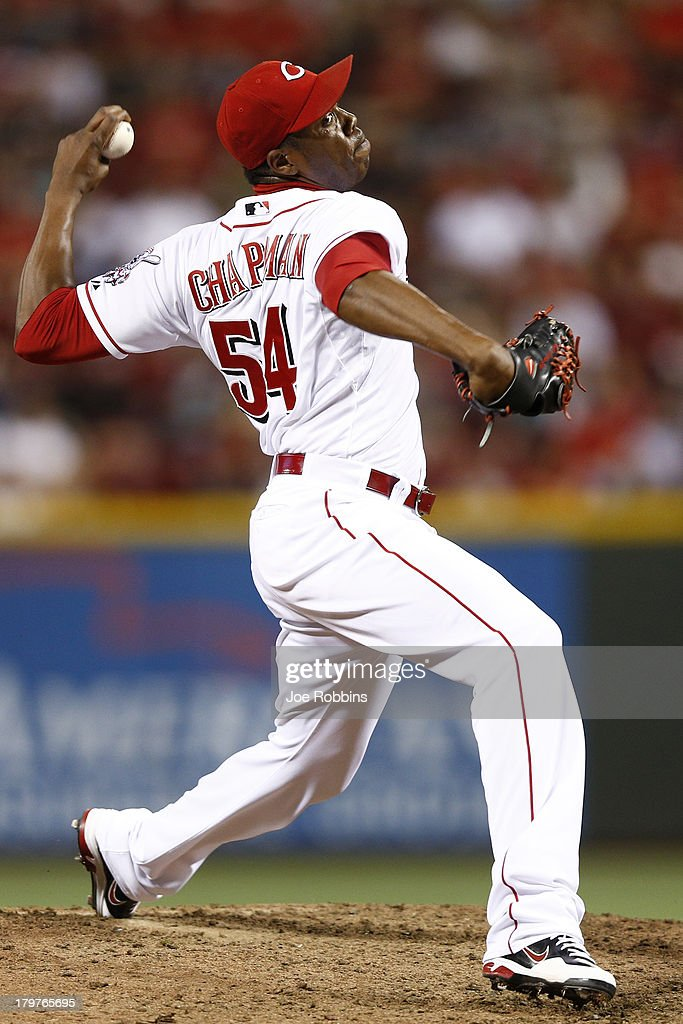 <a gi-track='captionPersonalityLinkClicked' href=/galleries/search?phrase=Aroldis+Chapman&family=editorial&specificpeople=5753195 ng-click='$event.stopPropagation()'>Aroldis Chapman</a> #54 of the Cincinnati Reds pitches the ninth inning of the game against the Los Angeles Dodgers at Great American Ball Park on September 6, 2013 in Cincinnati, Ohio. The Reds won 3-2.