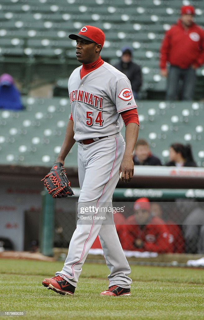Aroldis Chapman #54 of the Cincinnati Reds reacts after giving up three runs against the Chicago Cubs in the ninth inning on May 3, 2013 at Wrigley Field in Chicago, Illinois. The Reds defeated the Cubs 6-5.