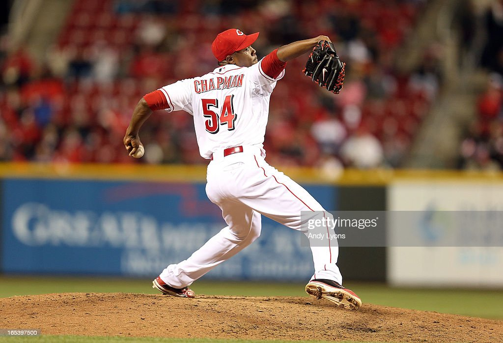 <a gi-track='captionPersonalityLinkClicked' href=/galleries/search?phrase=Aroldis+Chapman&family=editorial&specificpeople=5753195 ng-click='$event.stopPropagation()'>Aroldis Chapman</a> #54 of the Cincinnati Reds throws a pitch against the Los Angeles Angels of Anaheim at Great American Ball Park on April 3, 2013 in Cincinnati, Ohio.