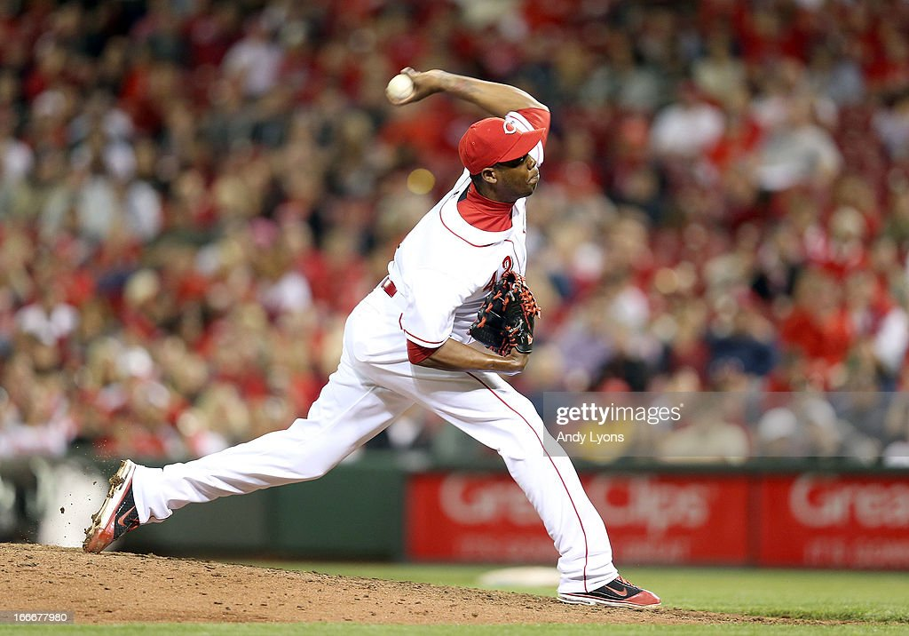<a gi-track='captionPersonalityLinkClicked' href=/galleries/search?phrase=Aroldis+Chapman&family=editorial&specificpeople=5753195 ng-click='$event.stopPropagation()'>Aroldis Chapman</a> of the Cincinnati Reds throws a pitch during the game against the Philadelphia Phillies at Great American Ball Park on April 15, 2013 in Cincinnati, Ohio. All uniformed team members are wearing jersey number 42 in honor of Jackie Robinson Day.