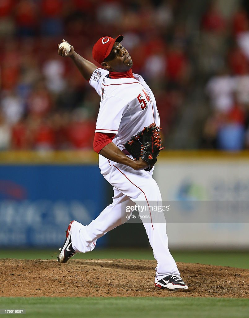 <a gi-track='captionPersonalityLinkClicked' href=/galleries/search?phrase=Aroldis+Chapman&family=editorial&specificpeople=5753195 ng-click='$event.stopPropagation()'>Aroldis Chapman</a> #54 of the Cincinnati Reds throws a pitch during the game against the St. Louis Cardinals at Great American Ball Park on September 5, 2013 in Cincinnati, Ohio.
