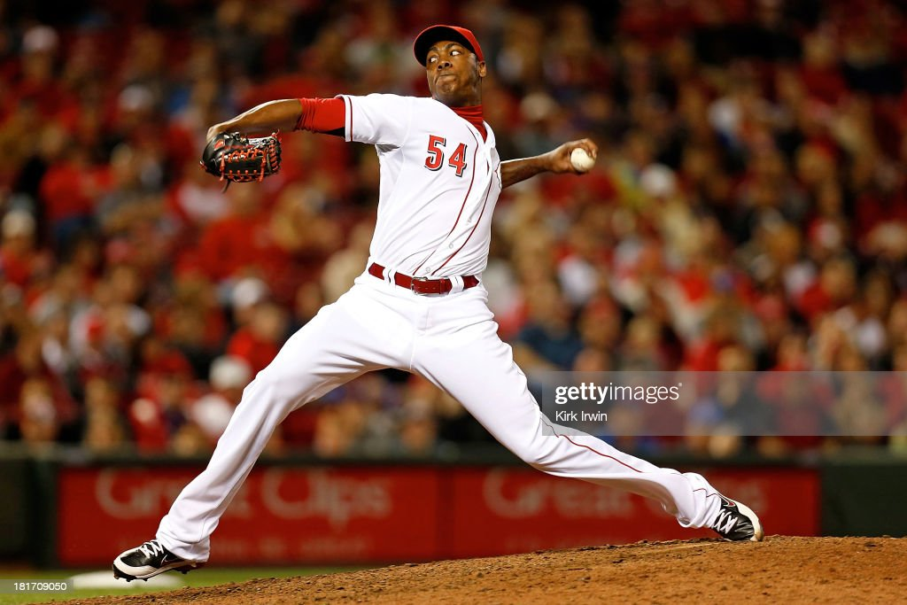 <a gi-track='captionPersonalityLinkClicked' href=/galleries/search?phrase=Aroldis+Chapman&family=editorial&specificpeople=5753195 ng-click='$event.stopPropagation()'>Aroldis Chapman</a> #54 of the Cincinnati Reds throws a pitch during the ninth inning against the New York Mets at Great American Ball Park on September 23, 2013 in Cincinnati, Ohio. Cincinnati defeated New York 3-2 in 10 innings.