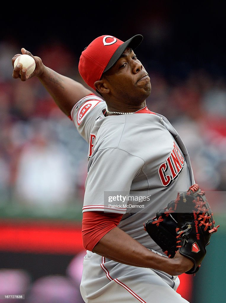 <a gi-track='captionPersonalityLinkClicked' href=/galleries/search?phrase=Aroldis+Chapman&family=editorial&specificpeople=5753195 ng-click='$event.stopPropagation()'>Aroldis Chapman</a> #54 of the Cincinnati Reds throws a pitch in the ninth inning during a game against the Washington Nationals at Nationals Park on April 28, 2013 in Washington, DC. The Reds defeated the Nationals.