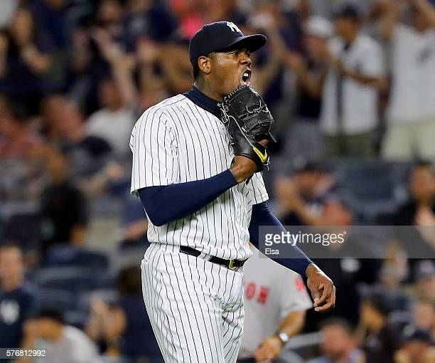Aroldis Chapman of the New York Yankees celebrates the 31 win over the Boston Red Sox at Yankee Stadium on July 17 2016 in the Bronx borough of New...