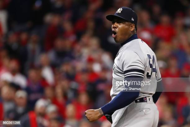 Aroldis Chapman of the New York Yankees celebrates their 5 to 2 win over the Cleveland Indians in Game Five of the American League Divisional Series...