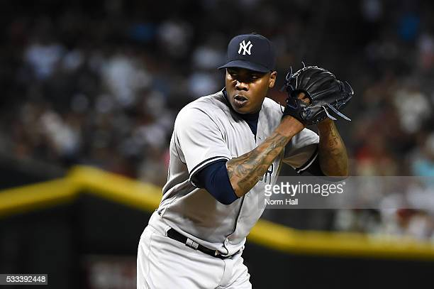 Aroldis Chapman of the New York Yankees delivers a pitch against the Arizona Diamondbacks at Chase Field on May 18 2016 in Phoenix Arizona