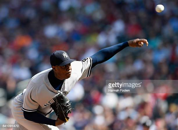 Aroldis Chapman of the New York Yankees delivers a pitch against the Minnesota Twins during the ninth inning of the game on June 18 2016 at Target...
