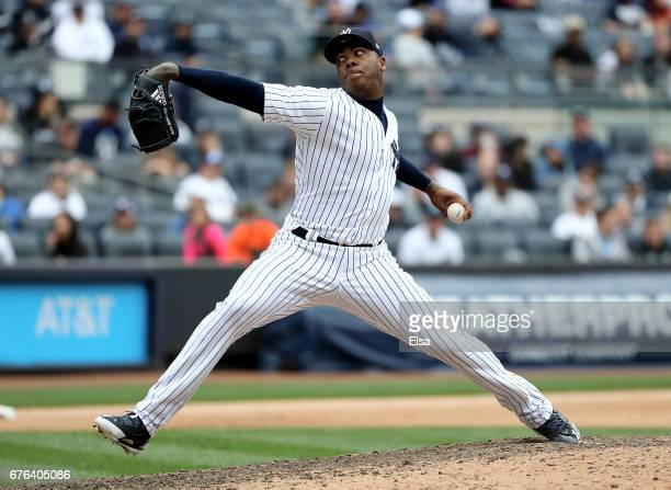 Aroldis Chapman of the New York Yankees delivers a pitch against the Baltimore Orioles on April 30 2017 at Yankee Stadium in the Bronx borough of New...