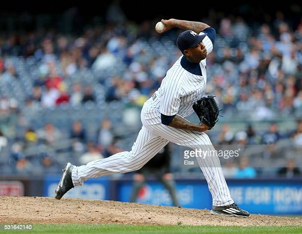 Aroldis Chapman of the New York Yankees delivers a pitch in the ninth inning against the Chicago White Sox at Yankee Stadium on May 15 2016 in the...