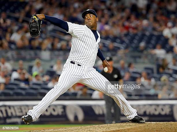 Aroldis Chapman of the New York Yankees delivers a pitch in the ninth inning against the Boston Red Sox at Yankee Stadium on July 15 2016 in the...