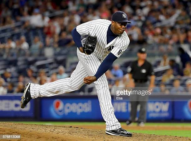 Aroldis Chapman of the New York Yankees delivers a pitch in the ninth inning against the Boston Red Sox at Yankee Stadium on July 17 2016 in the...