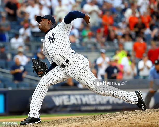 Aroldis Chapman of the New York Yankees delivers a pitch in the ninth inning against the San Francisco Giants on July 23 2016 at Yankee Stadium in...