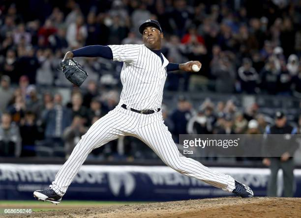 Aroldis Chapman of the New York Yankees delivers a pitch in the ninth inning against the St Louis Cardinals on April 14 2017 at Yankee Stadium in the...