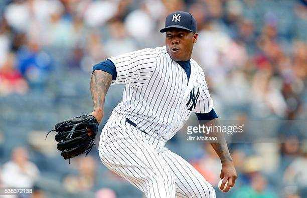 Aroldis Chapman of the New York Yankees in action against the Chicago White Sox at Yankee Stadium on May 14 2016 in the Bronx borough of New York...