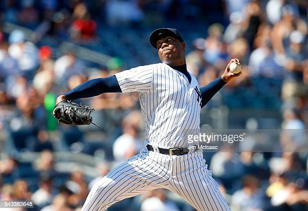 Aroldis Chapman of the New York Yankees in action against the Minnesota Twins at Yankee Stadium on June 25 2016 in the Bronx borough of New York City...