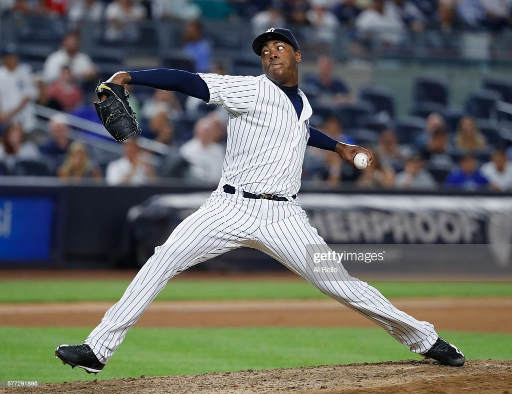 Aroldis Chapman #54 of the New York Yankees pitches against the Baltimore Orioles during their game at Yankee Stadium on July 18, 2016 in New York City.