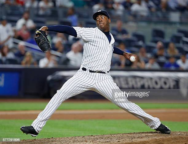 Aroldis Chapman of the New York Yankees pitches against the Baltimore Orioles during their game at Yankee Stadium on July 18 2016 in New York City