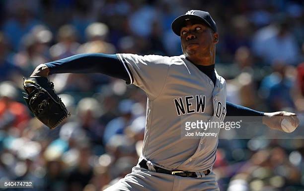 Aroldis Chapman of the New York Yankees pitches against the Colorado Rockies in the eighth inning at Coors Field on June 15 2016 in Denver Colorado...