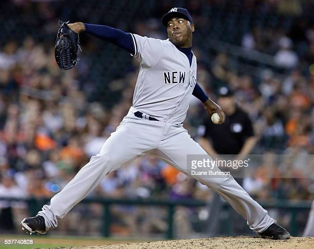 Aroldis Chapman of the New York Yankees pitches against the Detroit Tigers during the ninth inning at Comerica Park on June 2 2016 in Detroit Michigan