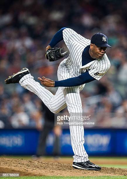 Aroldis Chapman of the New York Yankees pitches during the game against the San Francisco Giants at Yankee Stadium on July 22 2016 in the Bronx...