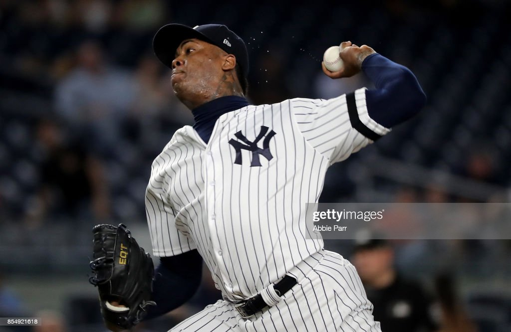 Aroldis Chapman #54 of the New York Yankees pitches during the ninth inning against the Tampa Bay Rays at Yankee Stadium on September 27, 2017 in the Bronx borough of New York City.