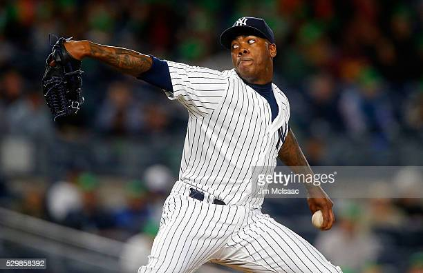 Aroldis Chapman of the New York Yankees pitches in the ninth inning against the Kansas City Royals at Yankee Stadium on May 9 2016 in the Bronx...