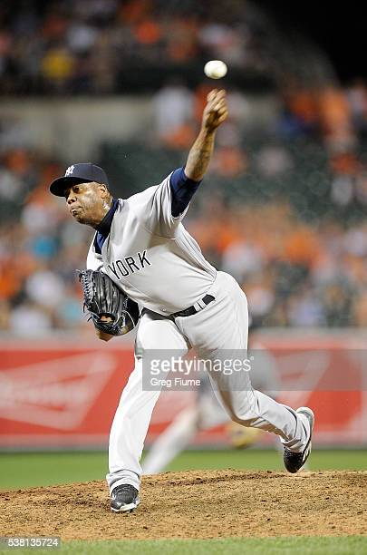 Aroldis Chapman of the New York Yankees pitches in the ninth inning against the Baltimore Orioles at Oriole Park at Camden Yards on June 4 2016 in...