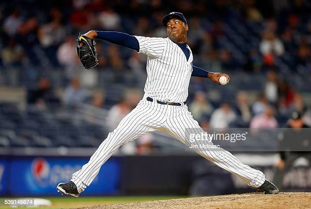 Aroldis Chapman of the New York Yankees pitches in the ninth inning against the Los Angeles Angels of Anaheim at Yankee Stadium on June 9 2016 in the...