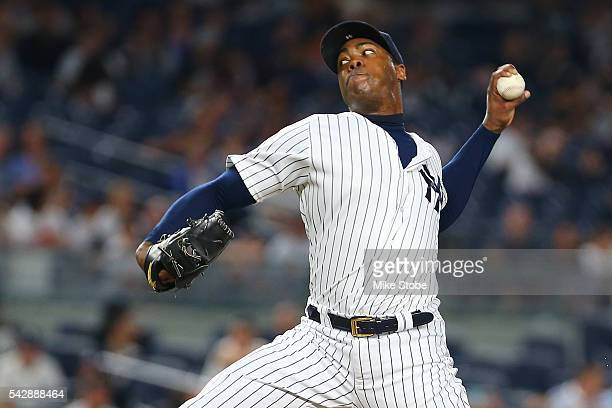 Aroldis Chapman of the New York Yankees pitches in the ninth inning against the Minnesota Twins at Yankee Stadium on June 24 2016 in the Bronx...