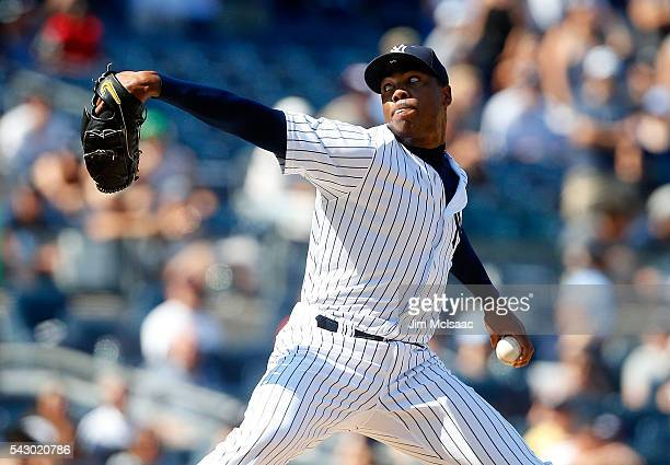 Aroldis Chapman of the New York Yankees pitches in the ninth inning against the Minnesota Twins at Yankee Stadium on June 25 2016 in the Bronx...