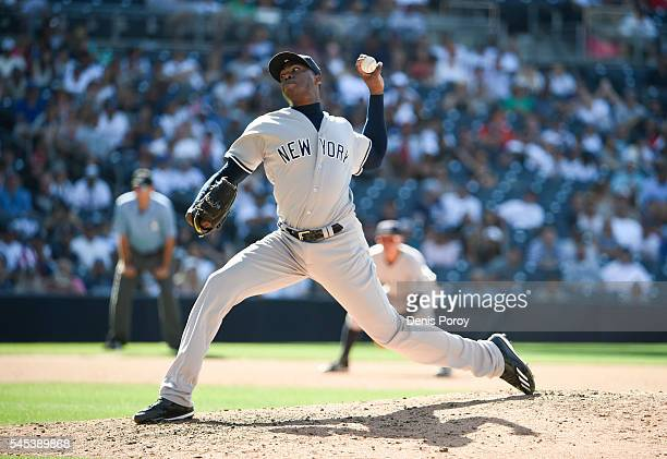 Aroldis Chapman of the New York Yankees plays during a baseball game against the San Diego Padres at PETCO Park on July 3 2016 in San Diego California