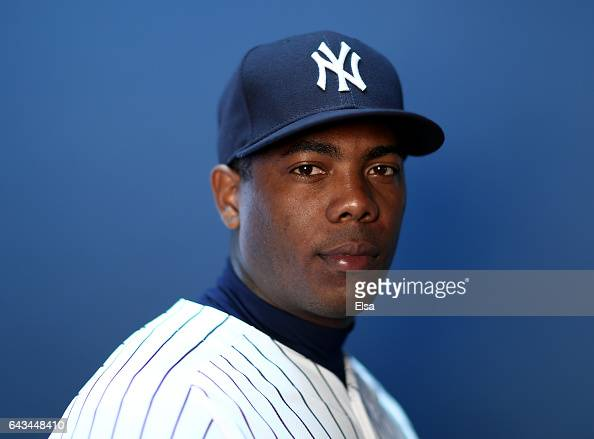 Aroldis Chapman of the New York Yankees poses for a portrait during the New York Yankees photo day on February 21 2017 at George M Steinbrenner Field...