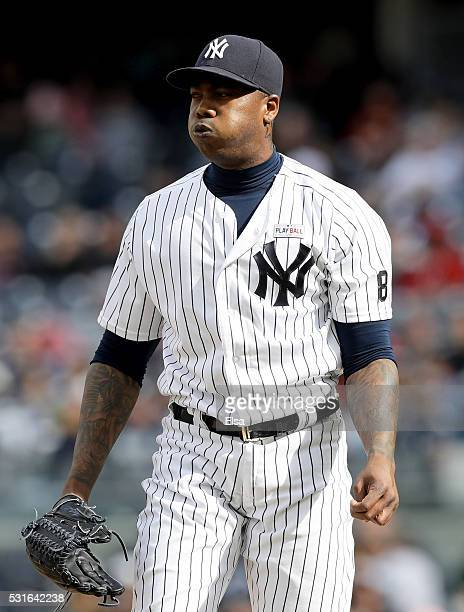 Aroldis Chapman of the New York Yankees reacts in the ninth inning against the Chicago White Sox at Yankee Stadium on May 15 2016 in the Bronx...