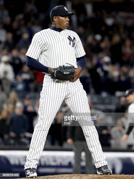 Aroldis Chapman of the New York Yankees reacts in the ninth inning against the St Louis Cardinals on April 14 2017 at Yankee Stadium in the Bronx...