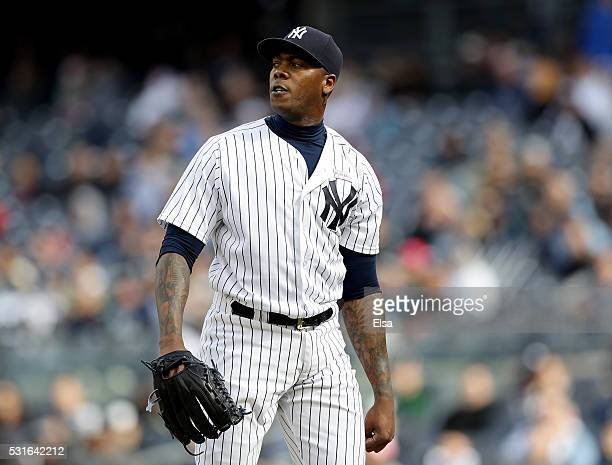 Aroldis Chapman of the New York Yankees reacts to the final out of the game against the Chicago White Sox at Yankee Stadium on May 15 2016 in the...